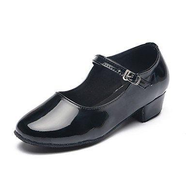 Silence @ enfants Chaussures de danse Paillettes Paillettes Latin talons Plat Talon Practise/intérieur noir noir