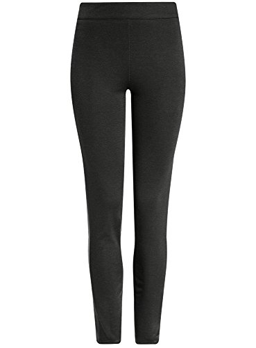 oodji Ultra Damen Jersey-Leggings mit Kunstledereinsatz Grün (6900N)