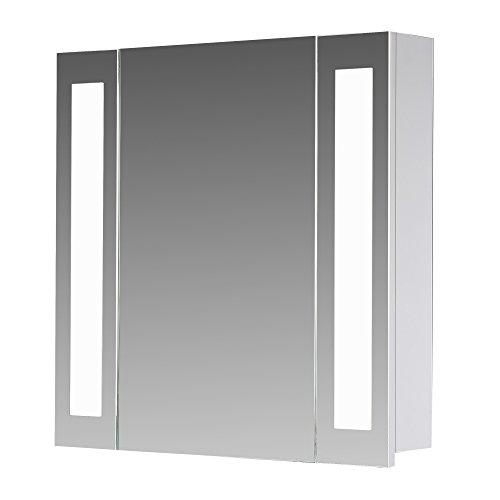 #Eurosan 1-türiger Spiegelschrank, Superflach, Integrierte LED-Frontbeleuchtung, Breite 80 cm, Weiß, San Francisco, SF80#