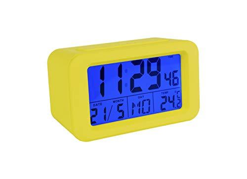 Fisura CL0825 Reloj Despertador Digital con Pantalla LCD con Luz Nocturna Fecha | Hora | Día | Temperatura/Despertadores Digitales Colores a Elegir con Diseño Original, Color Amarillo 12x5x7 cm
