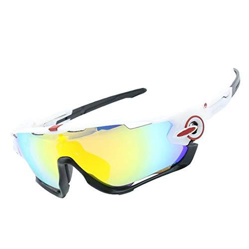 Radbrille Wechselgläser Sportsonnenbrille Retro Damen Herren Wind Reiten Brille Vier Linsen Windschutzscheibe Windschutzscheibe Weiß Schwarz Rot Frame+4 Gläser Kit