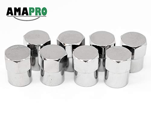 AMAPRO 8X Ventilkappen - Premium Reifenventilkappen - Elegante und Professionelle Ventilkappen im Chrom Look (Chrom Ventilkappen)