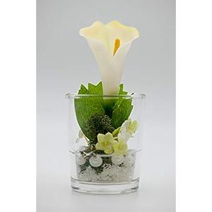 Kleines Tischgesteck mit Calla im Glas-Tischdeko mit künstlichen Blumen