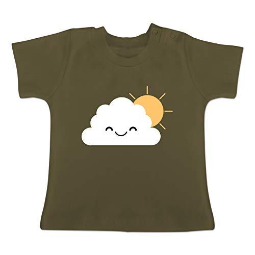 Kostüm Wolke Regen - Karneval und Fasching Baby - Wolke Karneval Kostüm - 1-3 Monate - Olivgrün - BZ02 - Baby T-Shirt Kurzarm