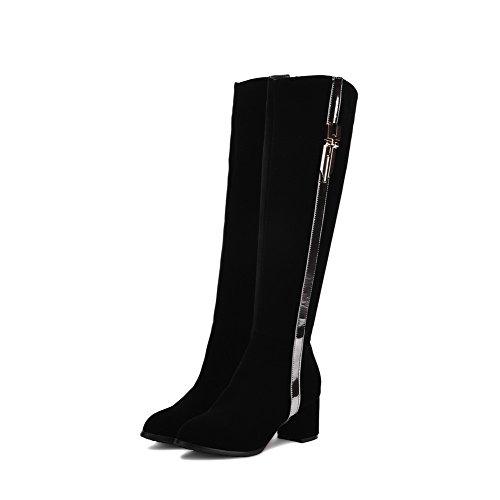 AgooLar Damen Blockabsatz Gemischte Farbe Mittler Absatz Reißverschluss Rund Zehe Stiefel Schwarz