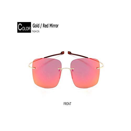 Sport-Sonnenbrillen, Vintage Sonnenbrillen, Fashion Male Rimless Square Titanium Sunglasses POLARIZED Männer Ultralight Driving Brand Design Sun Glasses Oculos De Sol C10gold red