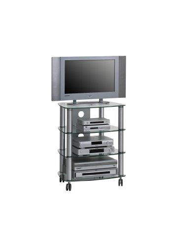 MAJA-Möbel 1611 9499 TV- HiFi-Rack, Metall Alu - Klarglas, Abmessungen BxHxT: 60 x 74,4 x 46,5 cm