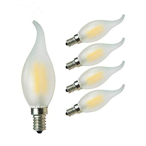 GLW 4W LED Kandelaber Birne,3000K Warmweiß Matt Filament Licht,E14 40W Glühlampen Ersatz,Flamme Form Bent Spitze,400lm Antiker Kerzenform Birne,240V(5 Packungen)