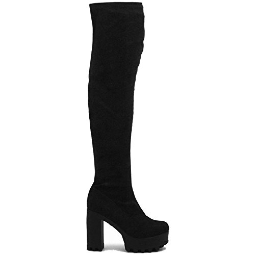 WOMENS OVER THE KNEE THIGH HIGH CHUNKY PLATFORM HEEL STRETCH BLACK BOOTS...
