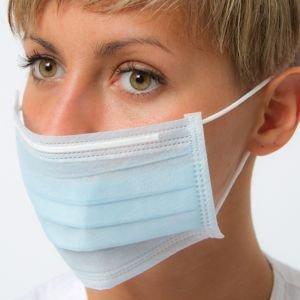 50 mascherine monouso tnt 3 strati con elastici potere filtrante 99% professionale azzurre dermask studi medici dentisti