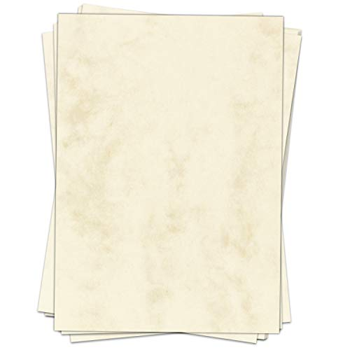 50 x Briefpapier Altes Papier Marmor Beige DIN A4 - beidseitig - Antik Retro Look marmoriert