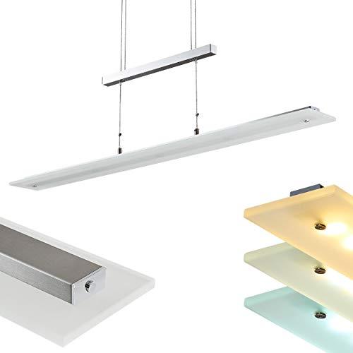 LED-Pendelleuchte Junsele mit dimmbarem Licht - Helligkeit zwischen 3000-6500 K einstellbar - Längliche Hängelampe 1-flammig für Esszimmer, Wohnzimmer - Pendellampe höhenverstellbar mit Glas Schirm