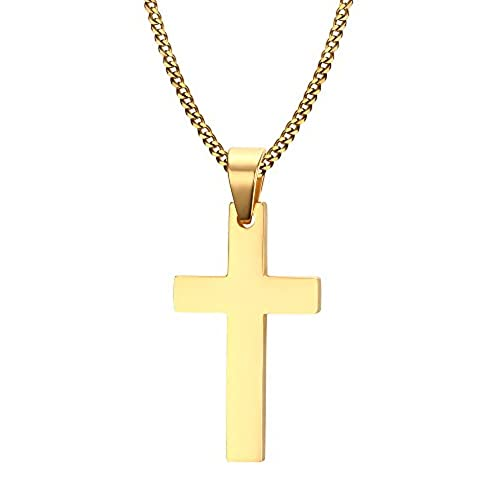 Gold cross amazon vnox mens stainless steel simple plain cross pendant necklace with 60cm cuban chain stainless steelgold aloadofball Gallery