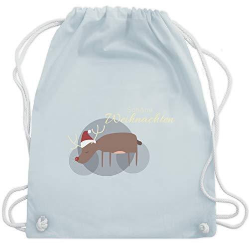 Weihnachten & Silvester - Schöne Weihnachten Rentier Weihnachtsmütze - Unisize - Pastell Blau - WM110 - Turnbeutel & Gym Bag