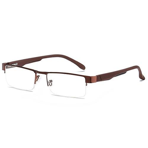 VEVESMUNDO Lesebrillen Herren Damen Klassische Metall Halbrandbrille Lesehilfe Federschaniere Klar Brille Augenoptik Vintage Sehhilfe Arbeitsplatzbrille Sehstärke Schwarz Grau Kaffee