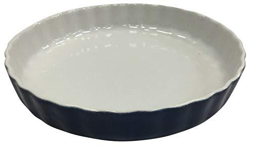 Kuchenform, Keramik, 28 cm, groß, geriffelt, Blau