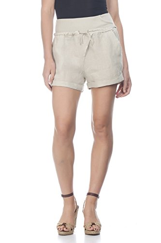 Laura Moretti - Leinen-Shorts mit breiter elastischer Taille und Kordelzug Beige