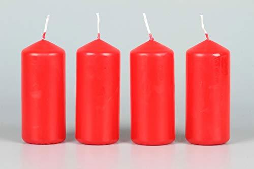 HMH Lot de 10 Bougies Pilier Rouge 100 x 40 mm Ø 10 x 4 cm