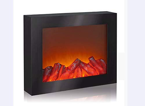 EASYmaxx 03422 - Chimenea LED de pared, chimenea decorativa (solo efecto de chimenea), llameante, chimenea eléctrica, sin función de calefacción, temporizador, sin cables, color negro