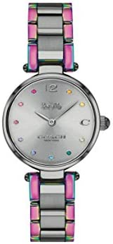 Coach Women'S Grey Dial Ionic Plated Grey Steel & Ionic Plated Rainbow 2 Steel Watch -