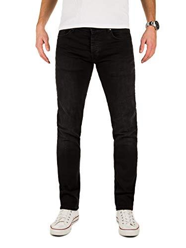 WOTEGA Herren Jeans Alistar Slim fit - Schwarze Jeans Hosen für Männer, Schwarz (Black 194008), W33/L34 -