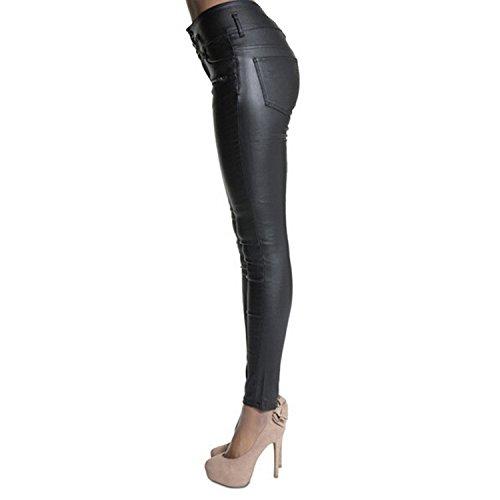 LAEMILIA Leggings Femme Simili Cuir Taille Haute Sexy Pantalon Slim Fit Pencil Joggings Crayon Strech Skinny Pants Noir