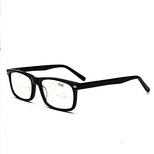 Computer-Lesebrille, Progressive Multifokus-Lesebrille mit doppelter Lichtfarbe, photochrome Unisex-Brille, für Männer und Frauen - stilvolle rechteckige bifokale Lesegeräte, Anti-Strahlen, Anti-UV