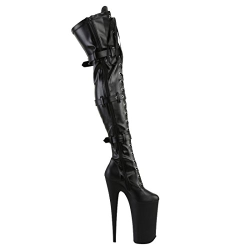 Pleaser, Stivali donna Blk Stretch Pu/Blk Matte