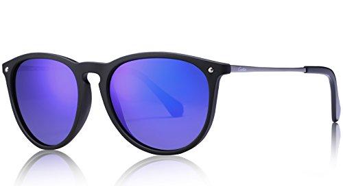 Carfia Vintage Polarisierte Damen Sonnenbrille Fahrer Brille 100% UV400 Schutz für Autofahren Reisen Golf Party und Freizeit - Ultraleicht Rahmen - Blaue Gläser