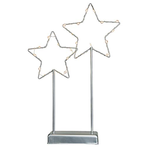 Nipach Deko-Leuchte Sterne - Lampe zur Dekoration auf Tisch Kommode - graues Metallgestell...