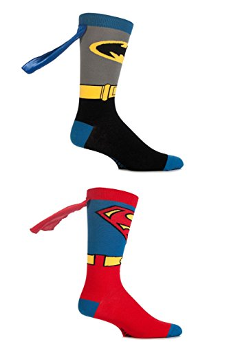 Herren 2 Paar SockShop DC Comics Superman und Batman Cape Socken - Batman & Superman (Capes Superman)