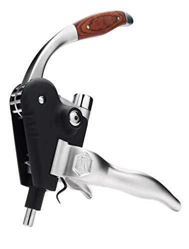LAGUIOLE - Korkenzieher mit Cremallière-Hebel - Aluminium und Holz - Mit Ersatzdrehung - Geschenkbox - Metall, Aluminium, Holz - Schwarz, braun