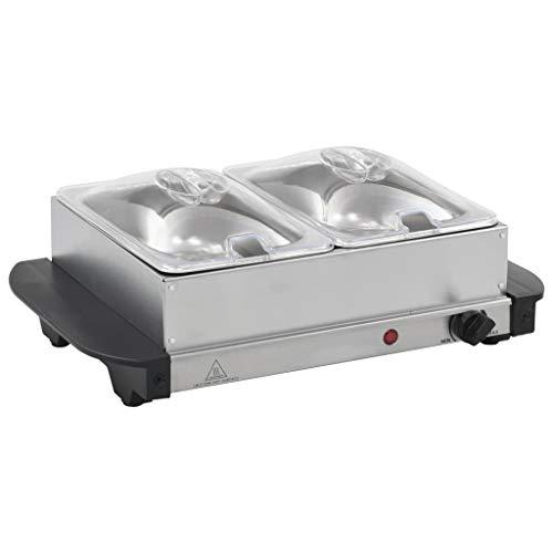 vidaXL Buffetwärmer Warmhalteplatte Elektrisch Heizplatte Wärmeplatte Warmhaltegerät Warmhaltebehälter Speisewärmer Buffet Wärmer Edelstahl 200W 2x1,5L