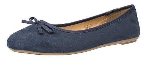 Fitters Footwear That Fits Ballerinas in Übergröße 42-45 Klassisch Textil Schleife Helen große Größe Leinenstoff (44 EU, dunkelblau)