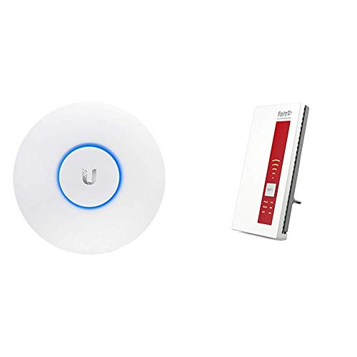 Ubiquiti Networks Indoor 2.4/5GHz 867Mbit 183m 24V passive PoE, UAP-AC-LR (24V passive PoE 175.7 x 43.2 mm Indoor) & AVM FRITZ!WLAN Repeater 1750E, Rot/Weiß, deutschsprachige Version - Indoor-repeater