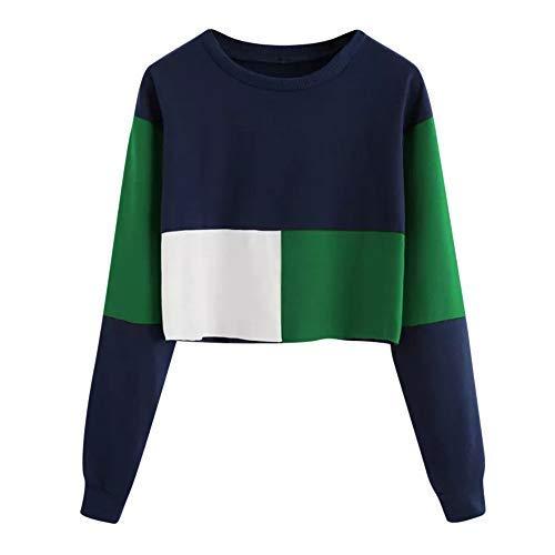 iHENGH Sweatshirt Damen,Women Herbst Casual Color Patchwork Sweatshirt Long Sleeve Short Pullover Tops Blouse Shirt Top (Grün,EU-36/CN-M (Seide Chiffon Wickel Bluse)