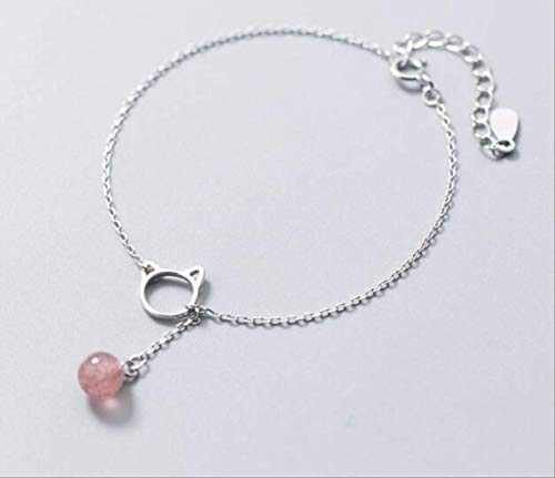LPNK BraceletSterling Silber Feinen Schmuck Offene Katze Kätzchen Rose Erdbeere Quarz Stein Kette Armband -