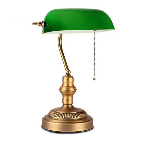Antike Banker Schreibtischlampe/Augenschutz Schlafzimmer Nachttischlampe/Retro Traditionelle Lesetischlampe mit grünem Glasschirm -
