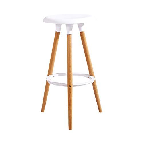 CAI Sitz Stuhl-Bar Chair Pp + Holz Bar Stuhl Moderne minimalistische Haushalt Bar Mode Hohe Hocker Barhocker 47 * 47 * 76 cm - Schwamm + Kunstleder/Massivholz Stuhl Oberfläche,Weiß -