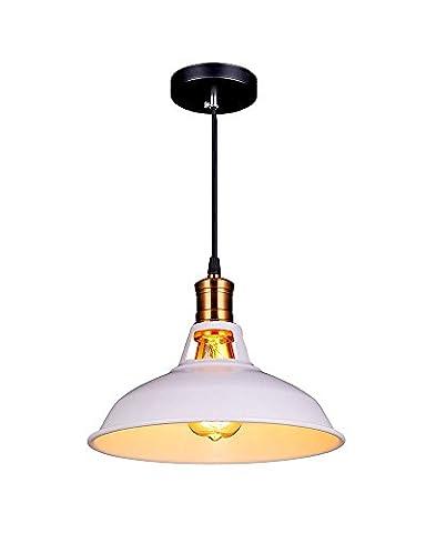 Splink Vintage Pendant Light E27 Industrial Metal Bronze Loft Bar Ceiling Light Shade Taditional Retro Stil, White
