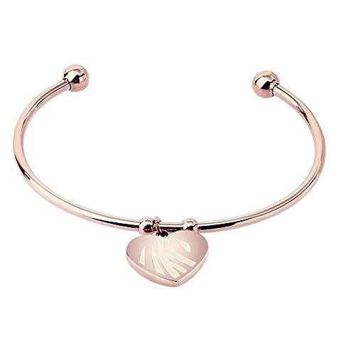 Bishiling Modeschmuck Edelstahl Armband für Frauen Mädchen Herzen Anhänger Armband Rosegold