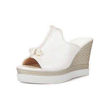 zhENfu Scarpe donna zeppe tacchi/piattaforma/Sling back/Open Toe sandali abito nero/blu/bianco/rosa White