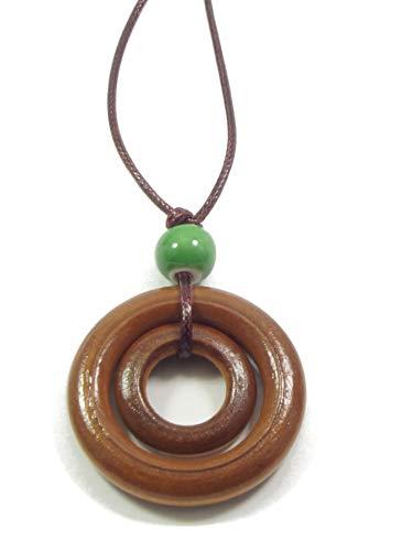 Vintage Trachten Schmuck Halskette - Ethno Damen-Halskette mit Keramik-Perle und Holz-Ring