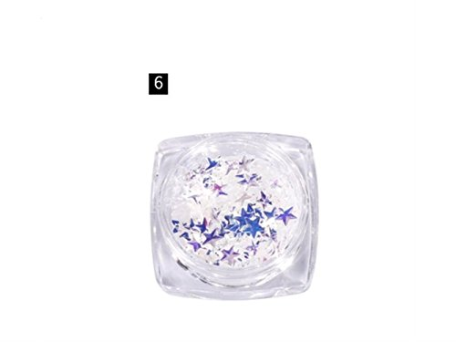 yter sympathetic and easy colored star sequins stickers dazzling colored nail decoration Art Nail Art stickers Glitter Case (As shown in figure 1) 2.8x2.8x1.5cm As Shown6