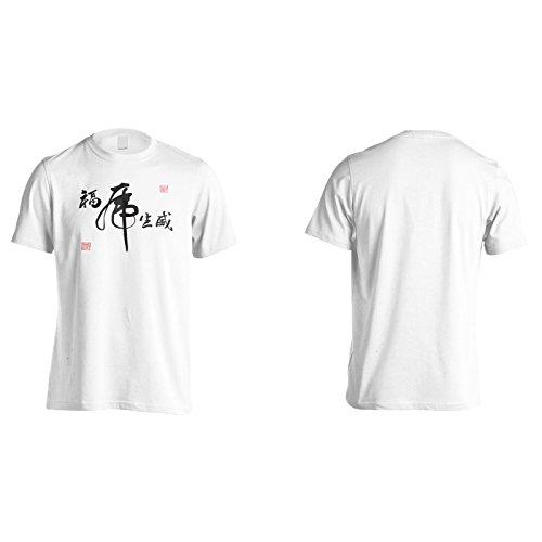 Nuovo Calligrafico Cinese Della Tigre Uomo T-shirt l494m White
