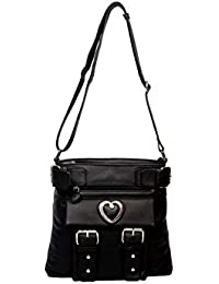 Resegno Women's Leather Sling Bag Black R07