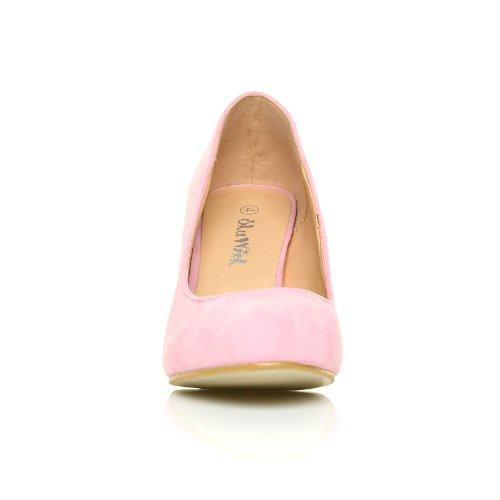 ShuWish UK - Chaussures PEARL Rose Pâle Faux Daim Stiletto Haut Talon Classique Rose Pâle Faux Daim