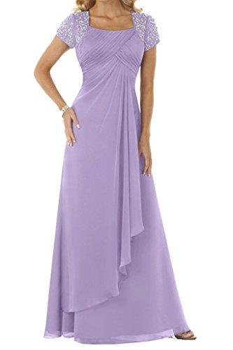 HUINI Brautmutterkleider Lang Empire Chiffon mit Strass Abendkleider Damen Ballkleider Festkleider...