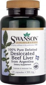 Swanson 100% Pure Defatted Desicated Beef Liver 500mg, 120 Capsules