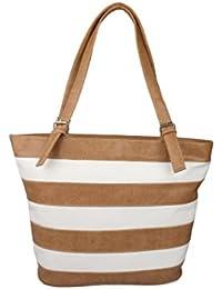 Caroll Women's Stylish Hand Bag (Brown & White)